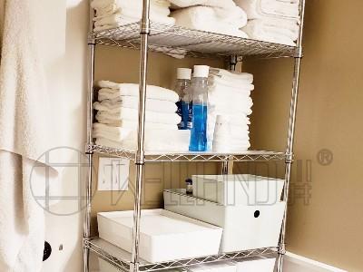 家居收纳层架 不锈钢颜色浴室置物架 洗衣房毛巾衣服收纳架