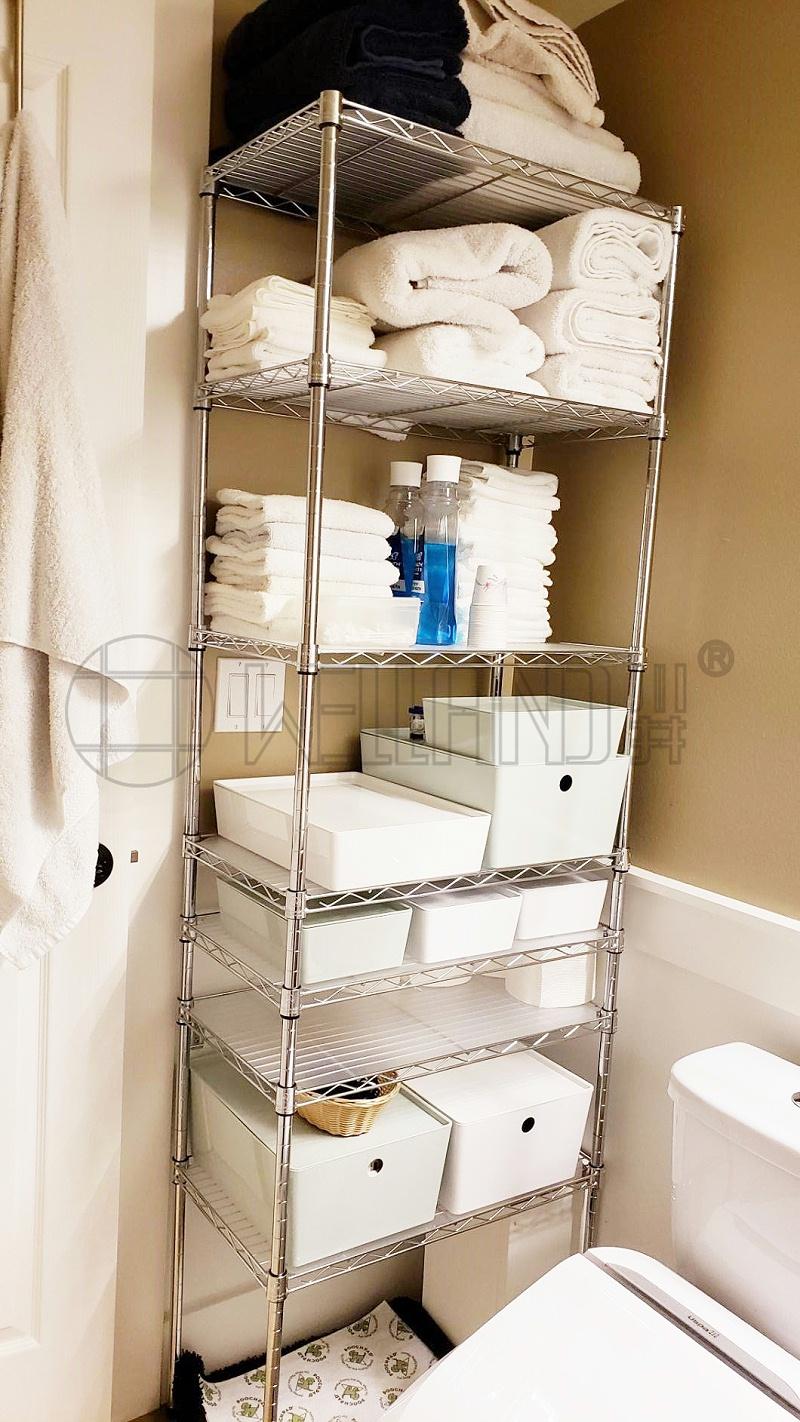 浴室卫生间厕所洗衣房毛巾架落地金属置物架简易线网镀铬货架(1)