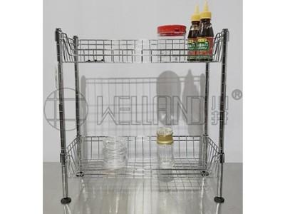 爆款两层迷你网篮厨房收纳架分享