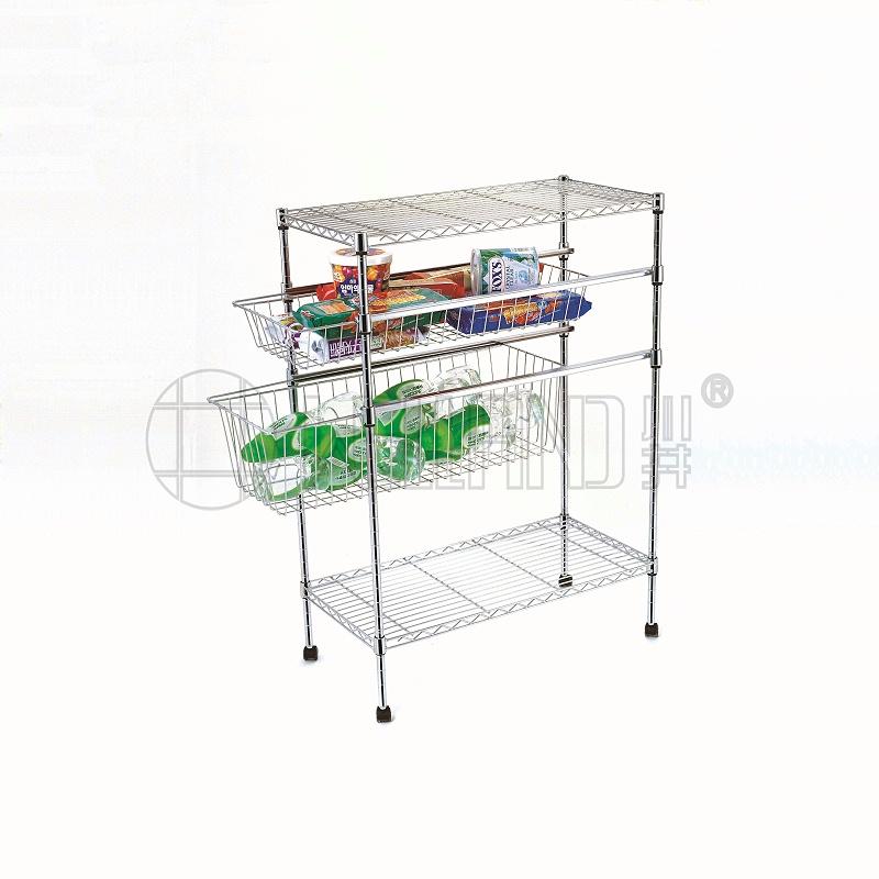 热销新款四层家用拉篮厨房置物架分享-川井