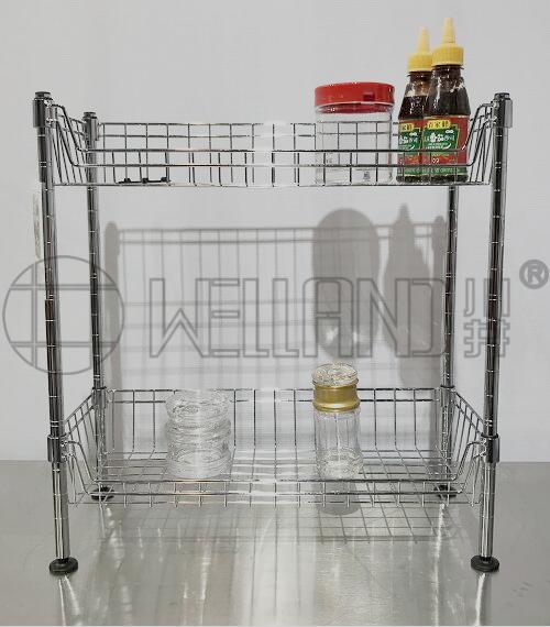 爆款两层迷你网篮厨房收纳架分享-川井