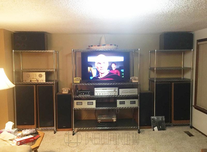 客厅起居室收纳置物架,金属电镀铬线网层架,电视机搁架-川井