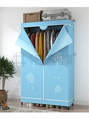 简易碳钢双人布艺衣柜
