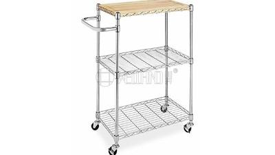 新款带竹板家用厨房推车分享