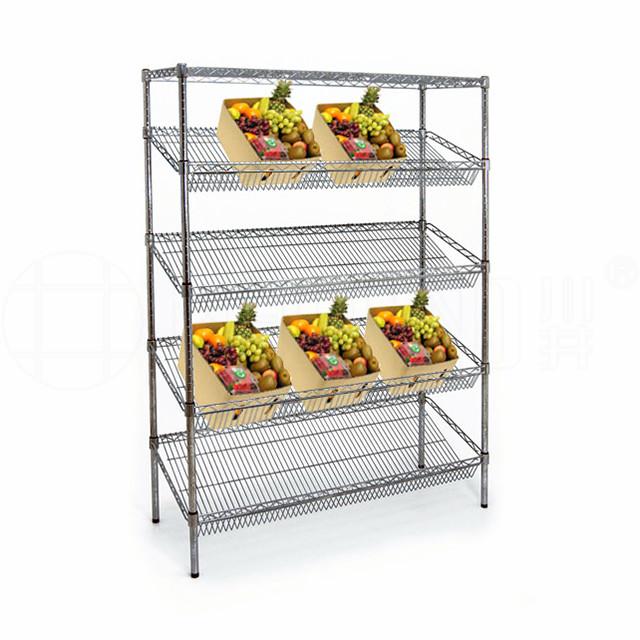 商超蔬菜水果货架_蔬果超市货架_展示斜网货架-川井