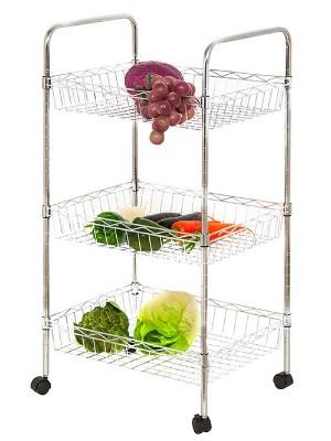 家居厨房网篮置物架_便携式镀铬层架-川井