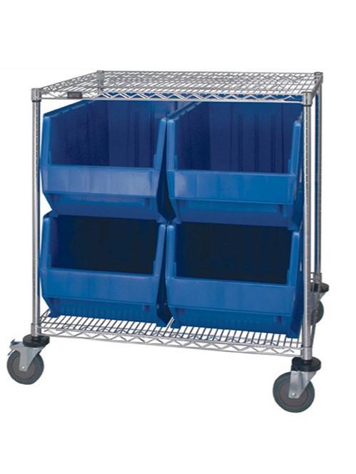 二层带塑料盒镀铬线网货架
