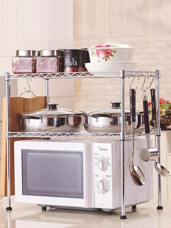 厨房微波炉烤箱台面线网镀铬置物架-川井