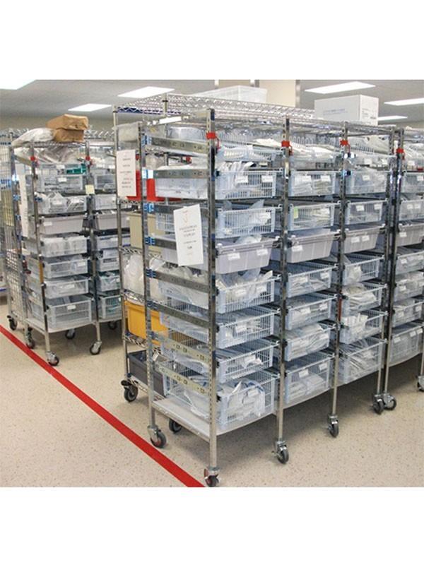 医院药品仓储收纳镀铬抽提网篮线网货架