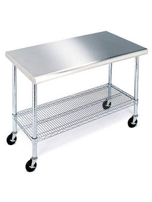 可移动的双层201不锈钢工作台厨房推车