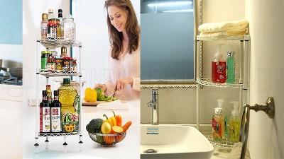 简易角落置物架好看好用,放厨房浴室都可