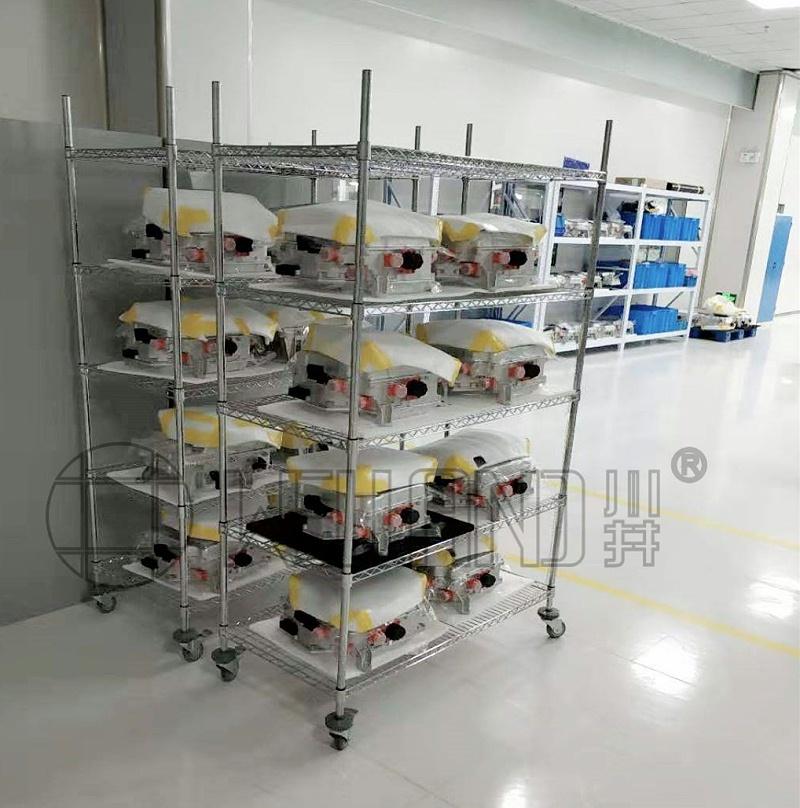 电子工厂、电子车间流水线电镀铬货架置物推车-川井