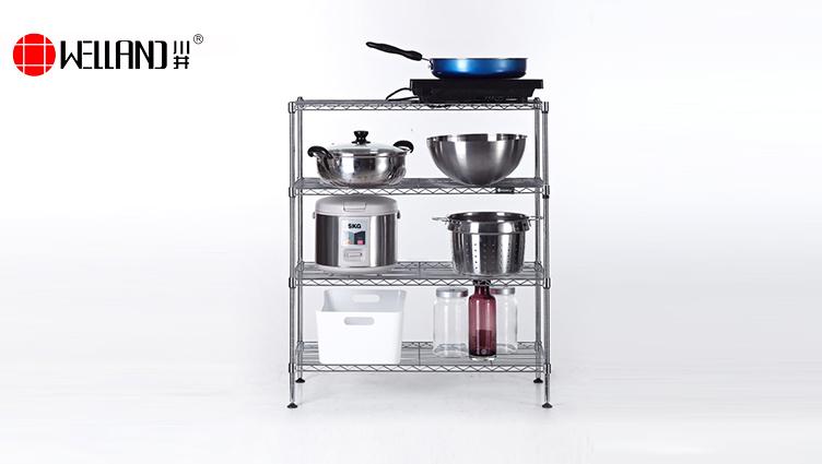 厨房多层可调节置物架安装-川井