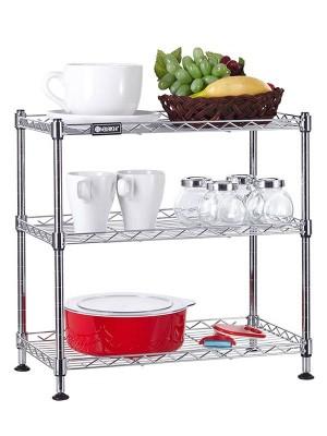 三层网格桌面置物架电镀铬厨房货架收纳架-川井