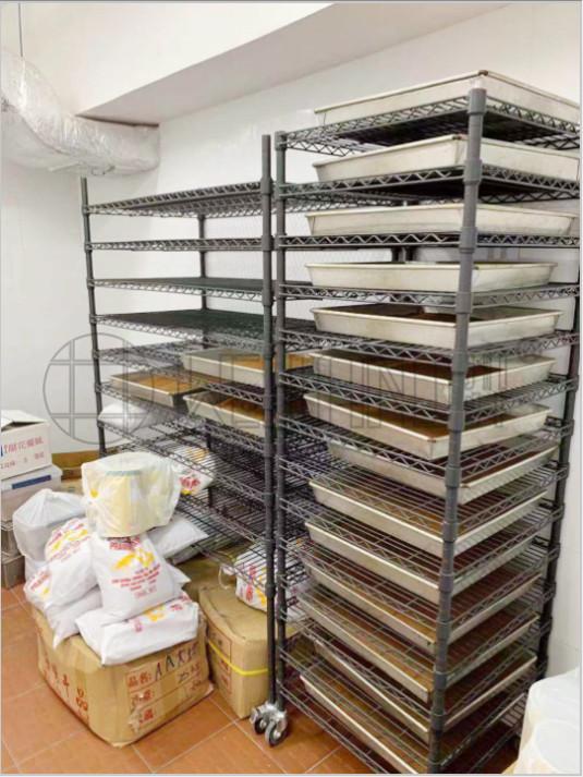 快餐连锁面包蛋糕店烘培食品级别货架案例