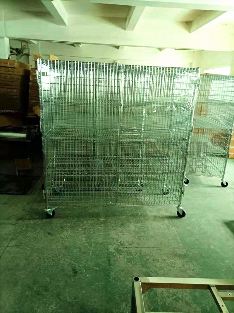 定制围笼货架 封闭式货架 带锁货架 可调节金属笼架-川井