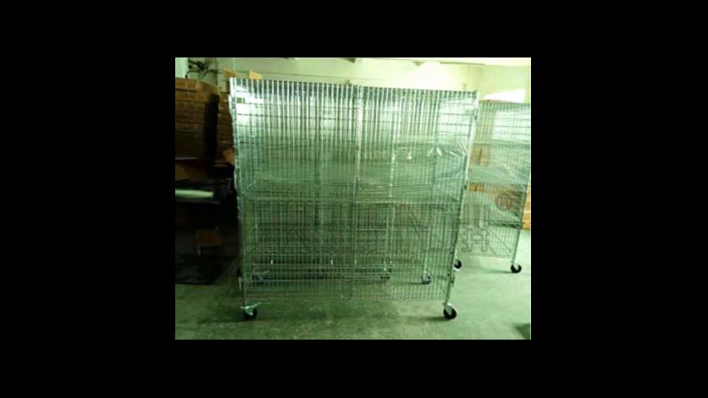 定制围笼货架封闭式货架带锁货架可调节金属笼架