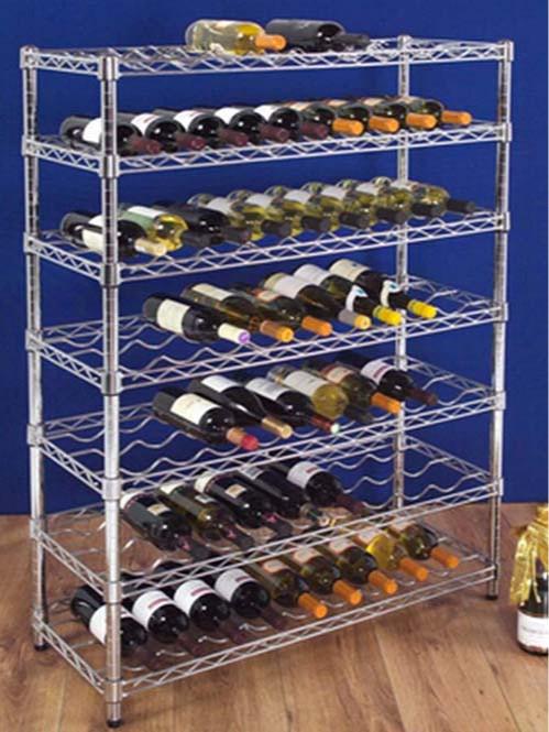 电镀铬金属钢制多层可调层距红酒展示架