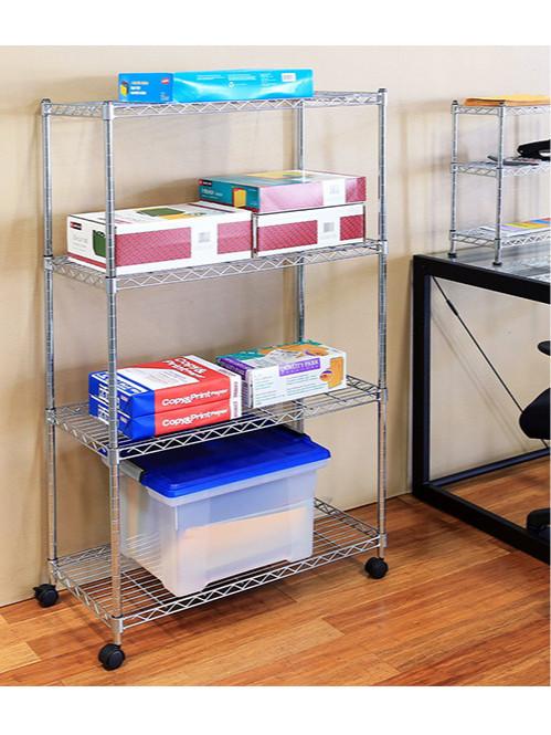 办公室打印纸文具收纳电镀铬置物架