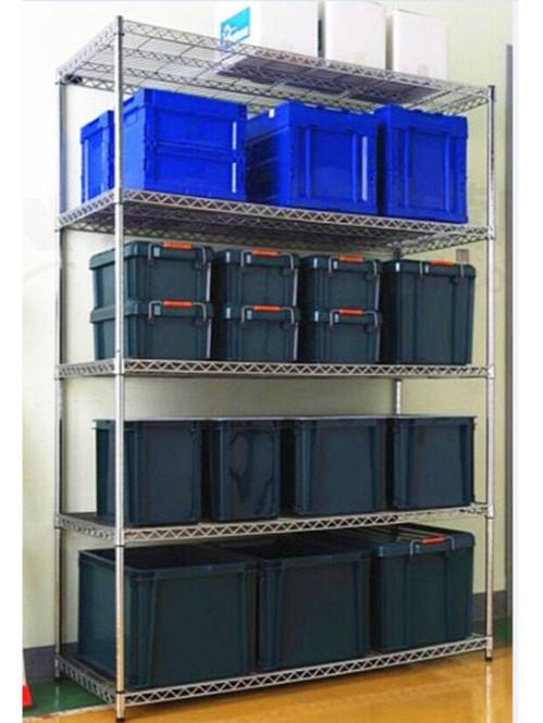 电镀铬带塑料盒子线网置物层架