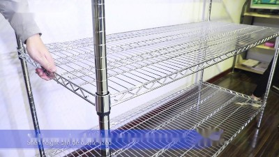 川井电镀铬重型线网货架安装视频