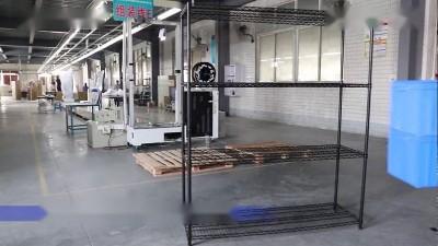 川井四层喷粉线网货架安装视频
