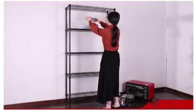 川井家用置物架黑色喷粉客厅收纳架安装视频