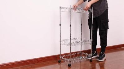 川井厨房客厅网篮收纳架家用落地置物架安装视频