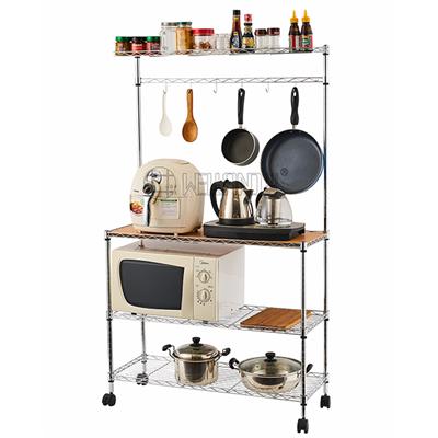 可移动厨房置物架带木板-川井WELLAND