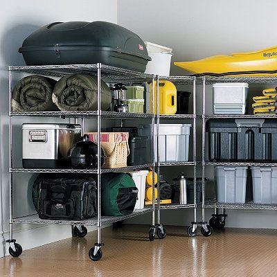 杂物间杂物货架车库货架可移动多层储物室层架电镀铬线网货架-川井 (2)