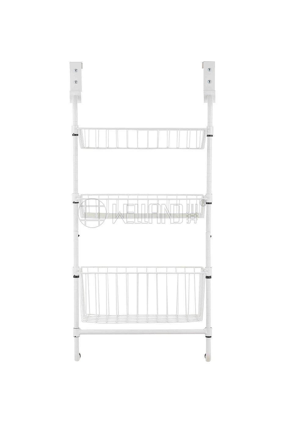 三层金属门后挂篮架 厨房卧室简易网篮置物架-川井 (2)