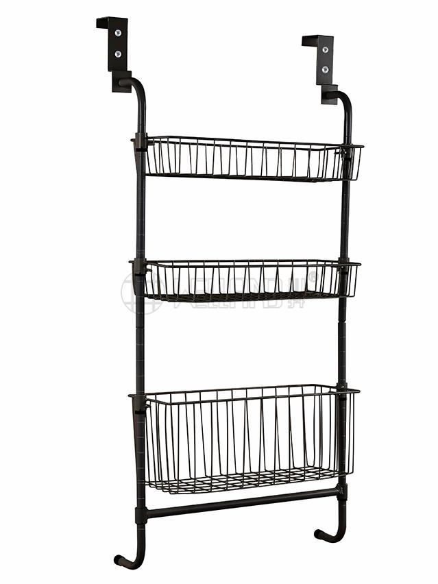 三层金属门后挂篮架 厨房卧室简易网篮置物架-川井 (3)