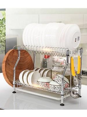 双层沥水餐具碗碟架