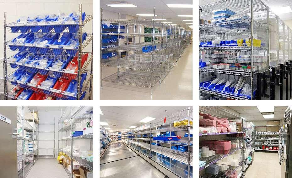 医院储物货架无菌多层储物架科室手术室用电镀铬收纳仓储货架案例