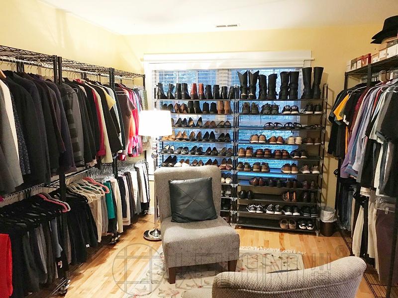 公寓卧室收纳架,挂衣架,金属电镀铬简易衣橱,新款布衣柜-川井