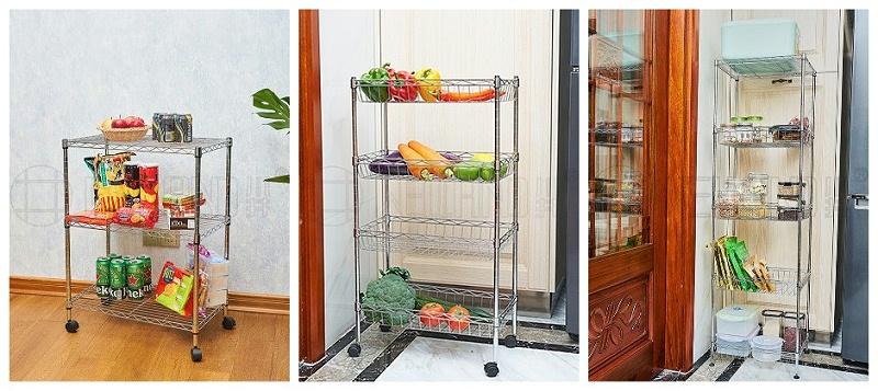 水果蔬菜零食太多没处放,用多层落地式金属线网网篮置物架吧-川井