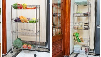 水果蔬菜零食太多没处放,用多层落地式金属线网网篮置物架吧