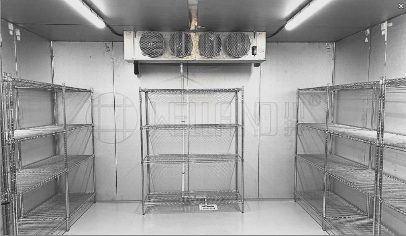 餐饮工程冷库货架冻肉蔬菜冷库仓储货架不锈钢色货架-川井
