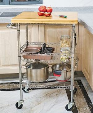 厨房竹板小餐车金属小推车